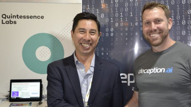 Vince Lee From QuintessenceLabs With Deception.ai Chief Executive Ben Whitham.